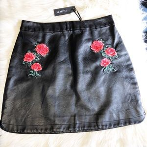 Cotton on faux leather skirt